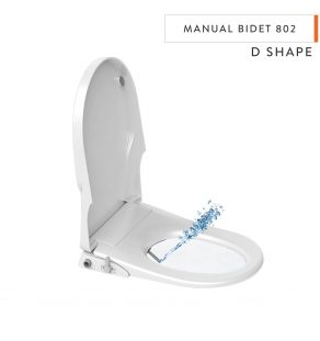 D Shape Manual Bidet Toilet Seats with Cover - No Electricity Required Bathroom Washlet with Dual Nozzles Sprayer